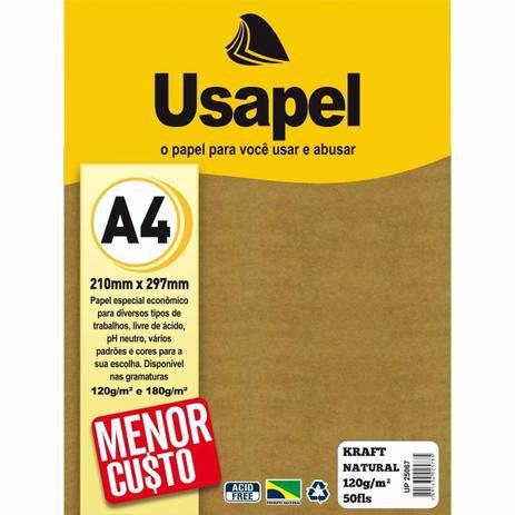 Papel Kraft Natural com 120g/m cortado no tamanho A4.