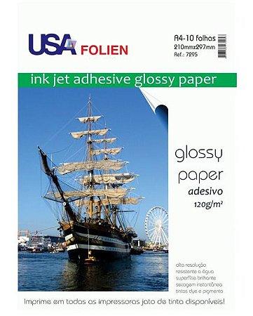 Papel Adesivo A4 120g/m² Glossy Usa Folien 10 Folhas