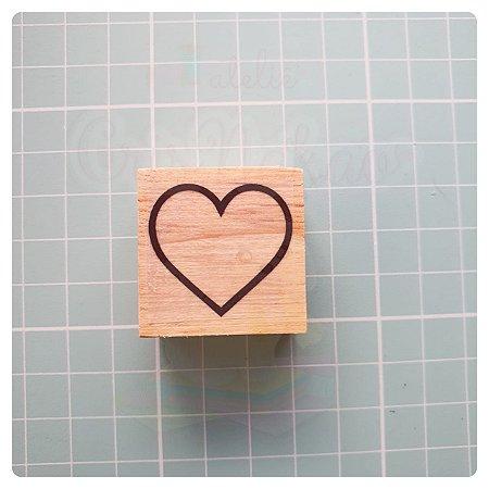 Carimbo Artesanal - Coração (3) 3x3cm