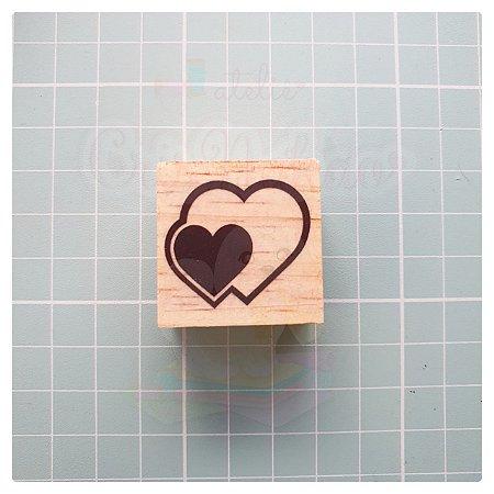 Carimbo Artesanal - Coração (4) 3x3cm