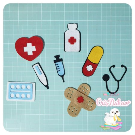 Recortes em Feltro - Kit Farmacinha - Enfermagem - 8 peças