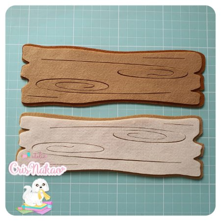 Recortes em feltro - Plaquinha madeira - un