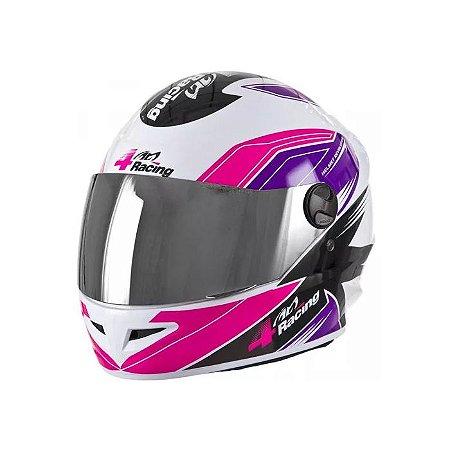 Capacete 4 Racing (Viseira Cristal + Viseira Cromada) Pink/Lilás Tam.58 Pro Tork - CAP-378PKLI