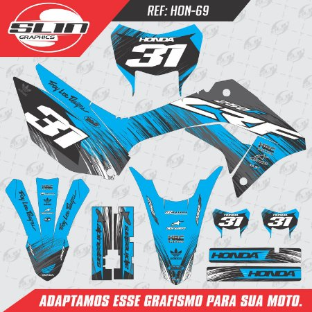 Adesivo Honda Crf 250f 19/20 Nacional - Line Racing Azul