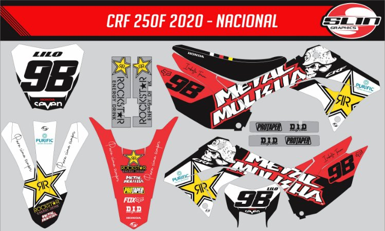 Adesivo Honda Crf 250f 19/20 Nacional + Capa de banco - Metal Mulisha Rock Star