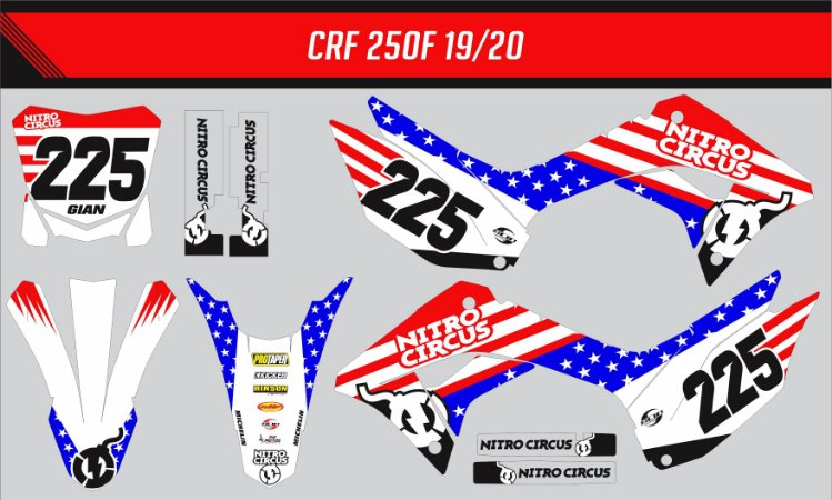 Adesivo Honda Crf 250f 19/20 Nacional - Nitro Circus