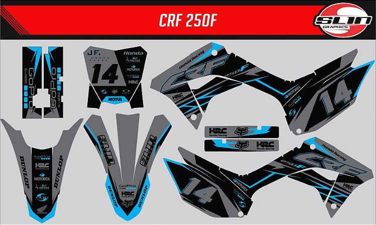 Adesivo Honda Crf 250f 19/20 Nacional - Azul Neon Flux
