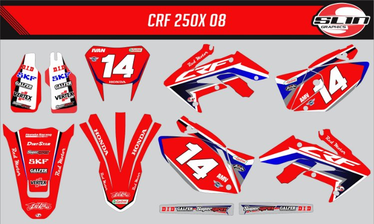 Adesivo Honda Crf 250x - Honda Red Motor Racing Team
