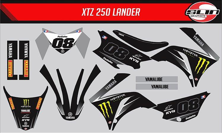 Adesivo Yamaha XTZ 125/250 - Monster Energy Black Edition + Capa de banco