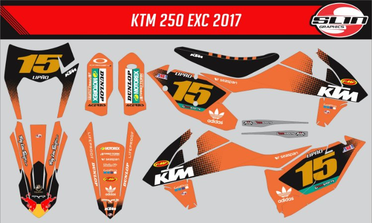 Adesivo Ktm 250/350/450 SX - Orange Flux Racing + Capa de banco