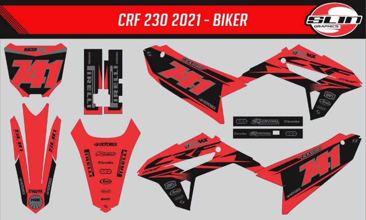 Adesivo Honda Crf 230 21 - Honda Red Line