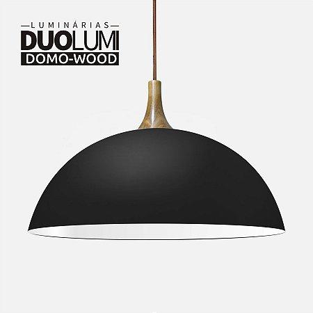 Pendente Domo-wood Preto fosco Duolumi acabamento em madeira