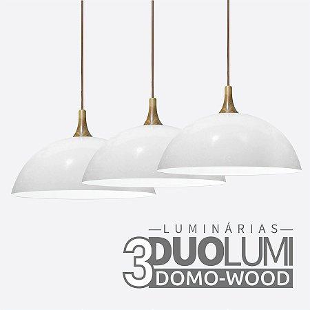 Kit 3 Pendentes Domo-Wood Branco Brilhante DuoLumi Acabamento Em Madeira