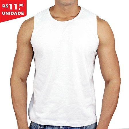 516139dbd Regata 100% Algodão Penteado Branco - Camiseta de Algodao