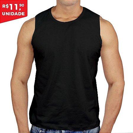 889e2ee9e Regata 100% Algodão Penteado Preto - Camiseta de Algodao