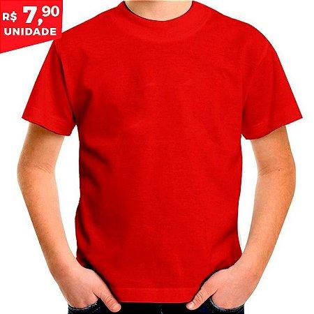 Camiseta Infantil 100% Algodão Penteado Vermelho - Camiseta de Algodao f1ac6539c35