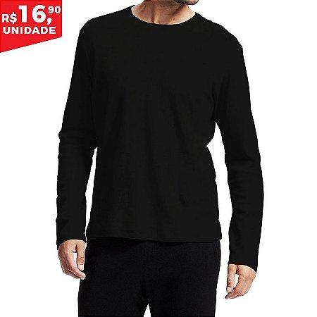 Camiseta Manga longa 100% Algodão Penteado Preto