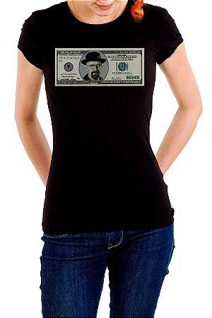Camiseta Feminina Preta Dolar Heisenberg Breaking Bad