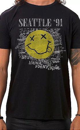 Camiseta Masculina Preta Seattle 91