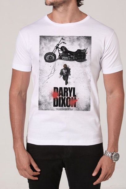 Camiseta Masculina Branca The Walking Dead Daryl Dixon