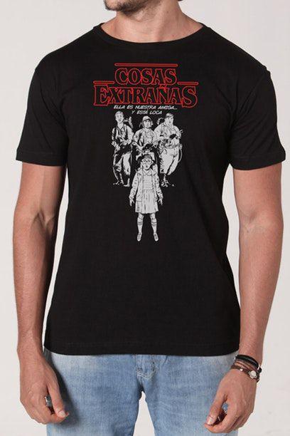 Camiseta Masculina Preta Cosas Extrañas
