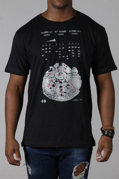 Camiseta Masculina Preta Millenium Falcon Space Smuggler