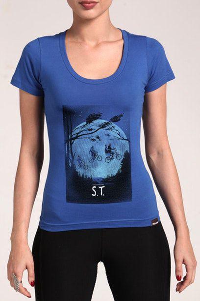 Camiseta Feminina Azul Stranger Things