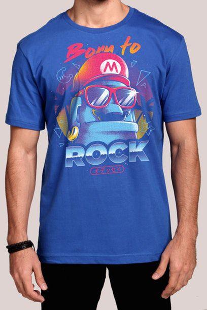Camiseta Masculina Azul Super Mario Born To Rock