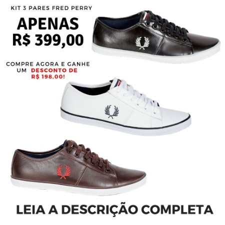 Kit 3 Pares Sapatênis Fred Perry