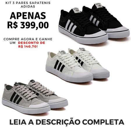 Kit 3 Pares de Tênis Casual Adidas