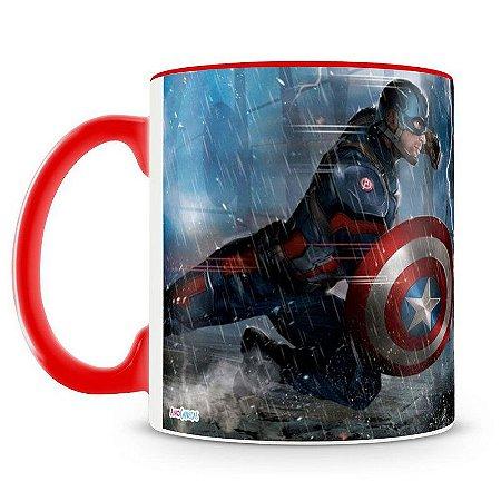 Caneca Personalizada Capitão América vs Homem de Ferro (Vermelha)