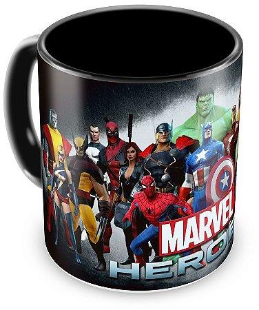Caneca Personalizada Heróis Marvel (Preta)
