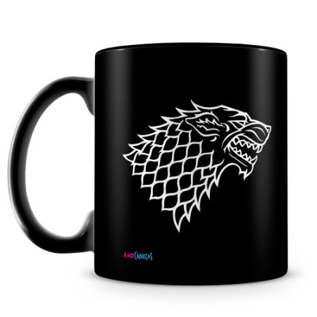 Caneca Personalizada Casa Stark (100% preta)
