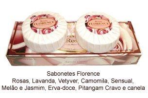 Kit 3 Sabonetes Florence Savon Creme Rosas Brancas 80g