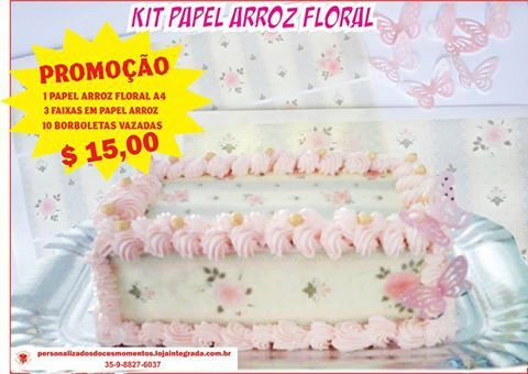Kit papel arroz floral