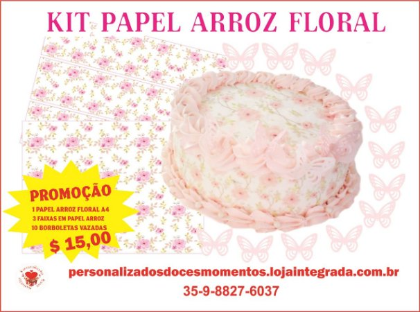KIT FAIXA FLORAL ROSA  A4