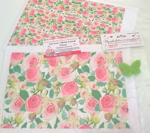 kit floral rosas +borboletas