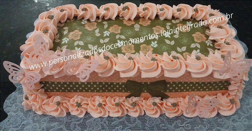 Kit floral rosé e marrom poá+ borboletas