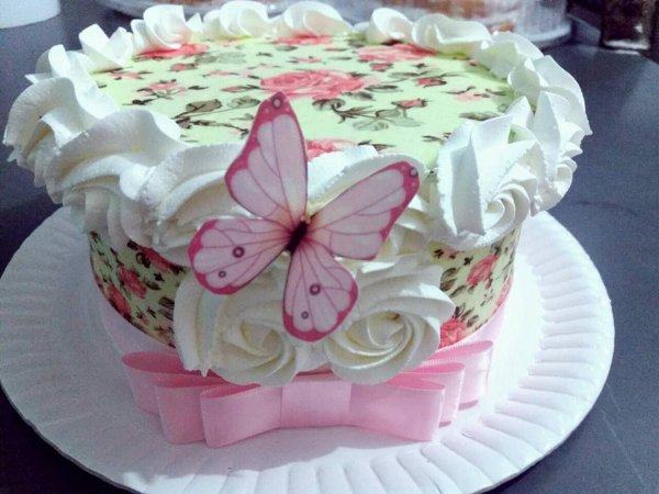 Kit papel floral , faixa rosé palha e borboletas