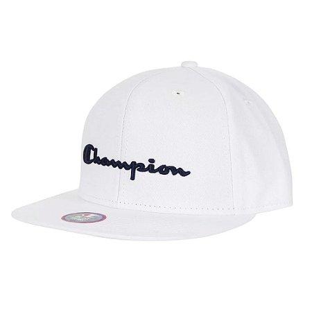 Boné Champion Aba Reta Snapback Script Hat Branco