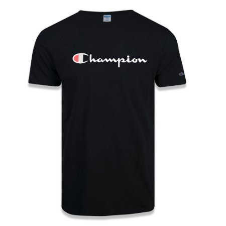 Camiseta Manga Curta Champion Malhão Script Patch Logo Preto
