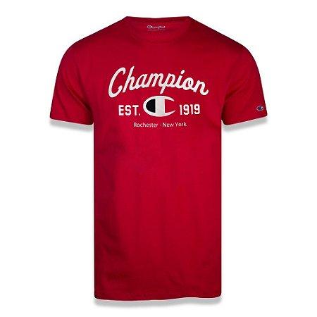 Camiseta Manga Curta Champion C Logo Ink Vermelho