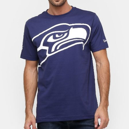 Camiseta Seattle Seahawks Oversize Azul - New Era