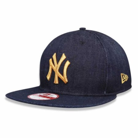 Boné New York Yankees Strapback Jeans Logo Gold MLB - New Era