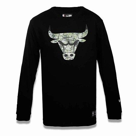 Camiseta Chicago Bulls NBA Polka Camuflada Preto - New Era