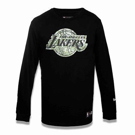 Camiseta Los Angeles Lakers NBA Polka Camuflada Preto - New Era