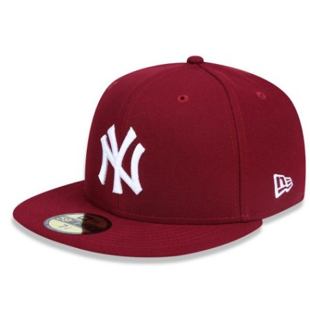 Boné New York Yankees 5950 White on Cardinal Fechado - New Era