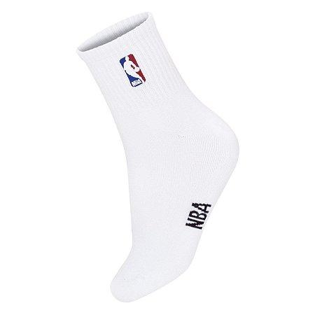 Meia NBA Logoman Cano Médio Branca