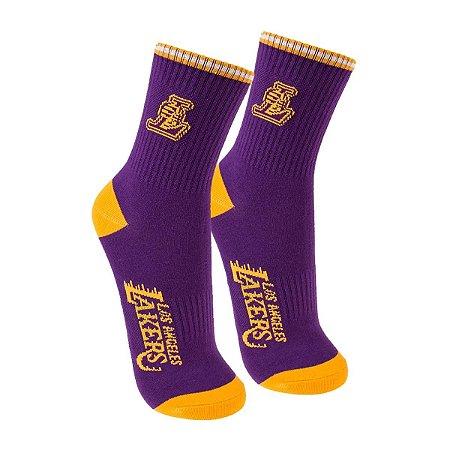 Meia NBA Los Angeles Lakers Cano Médio Roxa