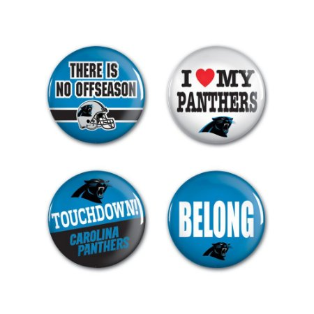 4 Bottons Pins Carolina Panthers NFL